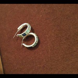 Hoop earrings teal stones